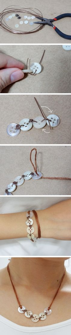 Button Necklace and Bracelet Combo is a photo craft tutorial showing how easy it is to use buttons and wire to make a matching necklace and bracelet duo.