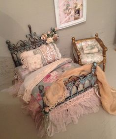 Vintage whimsy 1/2 scale bed by MyOwnRoom on Etsy