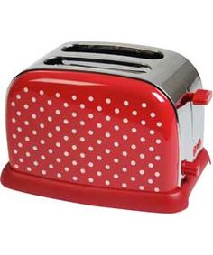 The Art of Coordinated Kitchenwares - KitchenOriginals Classic Polka Dot Toaster by Kalorik - 2 Slice, Wide Slot, High Lift, Stainless Steel housing, encased in gorgeous Real-Ink Hand Printed Polka Dot!