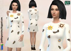 Beige Embellished Dress at Just For Your Sims via Sims 4 Updates