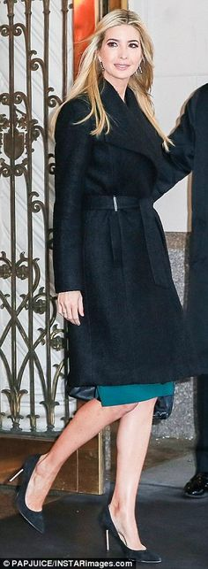 Future First Daughter: The 35-year-old donned a black wrap coat from the eponymous collection over her green pencil dress
