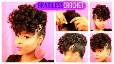Hey loves, this video is showing you how I achieved this (almost)braidless crochet updo featuring the sensationnel Jamaican Bounce here with only one pack of. Mohawk Braid Updo, Mohawk Hairstyles, Braided Updo, Gorgeous Hairstyles, Black Hairstyles, Protective Hairstyles, Natural Hair Updo, Natural Hair Styles, Braidless Crochet