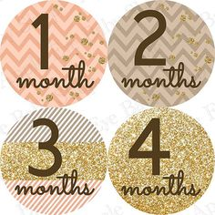 13 Monthly Onesie Stickers FREE Hello Just Born Sticker- Baby Leslie (gold glitter, confetti, chevron, peach, light brown) on Etsy, $9.00