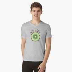 'Kiwi Time' T-Shirt by Adrian Razvan Petcu Time Clock, Kiwi, Natural Health, Tshirt Colors, Chiffon Tops, Female Models, V Neck T Shirt, Heather Grey, Classic T Shirts