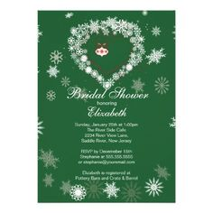 Elegant Green Snowflake Heart Winter Bridal Shower Custom Invitations.  So lovely for a green winter bridal shower.