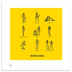 Movie Icons, Monroe, DeNiro, Chaplin… they're all here in this great movie icon print – a must for any Hollywood buff.
