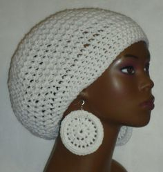 Items similar to White Crochet Beret Tam Hat Cap with Earrings by Razonda Lee Razondalee on Etsy Crochet Beret, Men Looks, All The Colors, Crochet Earrings, Trending Outfits, Etsy Seller, Beanie, Unique Jewelry, Handmade Gifts