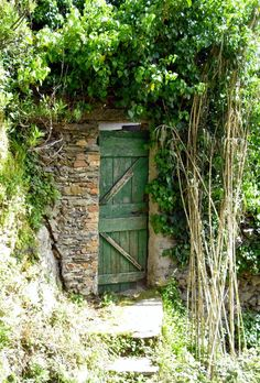 green door in stone wall - where does it lead?  Root cellar?