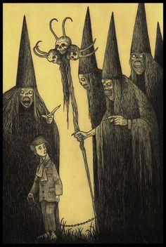5 pointy hats by John Kenn Monster Drawing, Monster Art, Arte Horror, Horror Art, Don Kenn, Creepy Drawings, Arte Obscura, Creepy Pictures, Macabre Art