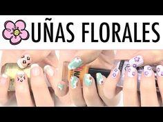 Diseños de uñas florales.