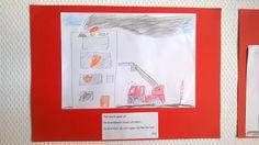 Een verhaal schrijven over de brandweer en er een tekening bij maken... School