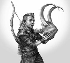 God of war. atreus holding Loki 's helmet Loki, Thor, Geeks, God Of War Series, Kratos God Of War, War Tattoo, Game Concept Art, Animation, Cultura Pop