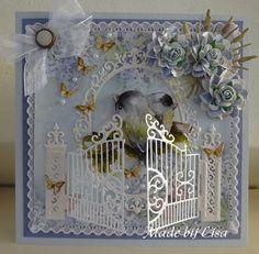 Voorbeeldkaart - Vogeltjes, - Categorie: Scrapkaarten - Hobbyjournaal uw hobby website