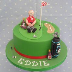 Golf themed birthday cake with handmade sugar decorations
