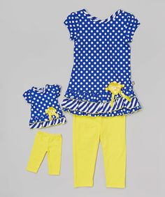 Another great find on #zulily! Blue & Yellow Dot Leggings Set & Doll Outfit - Toddler & Girls #zulilyfinds