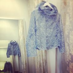 Clouds lace hoodie in smokey blue