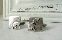 Dachshund Cufflinks  Sterling silver von VirginieMartinStudio, $70.00