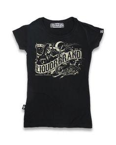 Liquor Brand Damen DEATHBANNER T-Shirts.Tattoo,Pin up,Custom,Biker Style