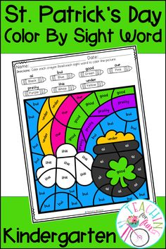 These Kindergarten Color By Code Sight Word activities are perfect for St. Patrick's Day! NO PREP! Simply print and go! A black and white student version is included along with a color-coded answer key. Use these Color By Code Sight Word activities for: Daily 5 – Work on Words, Early Finisher Activities, ELL and ESL Activities, Emergency Sub Tub Activities, Holidays, Homeschool, Homework, Inside Recess Activities, Literacy Center Activities, Morning Work, RTI, SLP Activities, and Thematic Units.