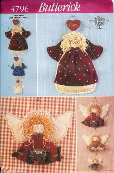 Angels! Butterick Angel Peace Wall Hanging Pattern 4796 UNCUT FF Craft handpainted faces #Christmasdecor #angels