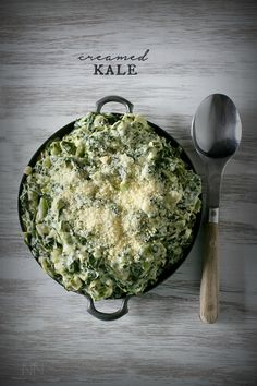 Creamed Kale - Full of healthy kale, cream cheese and a sprinkling of Parmesan cheese. Hello delicious!
