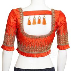 Blouse designs from back side Saree Blouse Neck Designs, Stylish Blouse Design, Fancy Blouse Designs, Bridal Blouse Designs, Designer Blouse Patterns, Wedding Mehndi, Wedding Dress, Sewing Stitches, Sewing Patterns