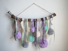 Mini Whimsical Branch pompom Wall Hanging 4 by LittleKnittyThings, $55.00 #pompom #nursery #whimsical