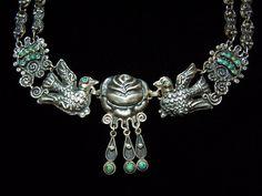 LOVE !  Matl Salas Mexican Silver Palomas Rosas Necklace