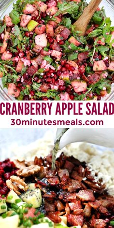 Cranberry Apple Salad is an easy festive side dish perfect for Christmas and Thanksgiving. #cranberries #30minutemeals #saladrecipes #sidedish #thanksgivingrecipes Apple Salad Recipes, Cranberry Recipes, Healthy Salad Recipes, Vegan Recipes Easy, Beef Recipes, Delicious Recipes, Cookie Recipes, Yummy Food, Healty Dinner