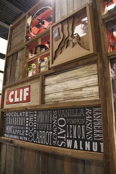 Clif Bar & Company Trade Show Booth Design by Lisa Whitsitt, via Behance  Tip: Using crates gives your booth a rustic/vintage feel. You can use them to create walls, shelves, tables; just about anything!