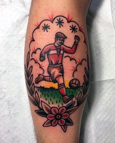 Mens Old School Soccer Player Leg Calf Tattoos
