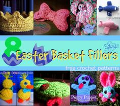 8 easter basket fillers to crochet Crochet Round, Cute Crochet, Crochet Crafts, Crochet Dolls, Crotchet, Crochet Yarn, Crochet Projects, Easter Ideas, Easter Crafts