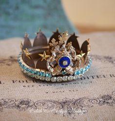 Statue Crown, Santos, Vintage Jewelry Parts Findings, Tiara, Rhinestones