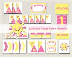 Little Sunshine Theme Printable Party by PixiePerfectParties 1st Birthday Girls, Happy Birthday, Birthday Parties, Party Printables, Pink Girl, Party Themes, Sunshine, Polka Dots, Kids Rugs