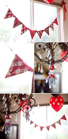 adorable sock monkey babyshower or birthday party banner!