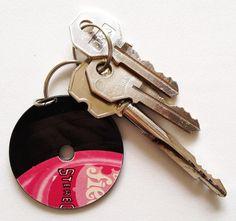 Vinyl Keychain Upcycled Recycled Vinyl Record LP by ZAHUCZKI