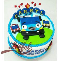 Tayo the Little Bus cake for Darryl's 6th birthday...