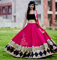 Pink Black Velvet Designer Lehengha
