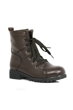 Punk Lace Up Brown Ankle Boots
