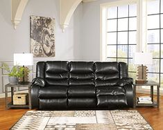 Linebacker DuraBlend Contemporary Black Color Leather Reclining Sofa