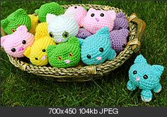 "Oh, my goodness! A basket full of tiny rolly-polly kittens. I'll make one in each color!  Wouldn't they be adorably furry made from Ice Yarn ""Eyelash Duo"". What a cute gift! ¯\_(ツ)_/¯"