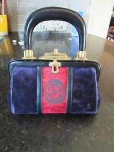 Vintage  ROBERTA DI CAMERINO Purple Red Cut Velvet Satchel Handbag  #RobertadiCamerin #Satchel