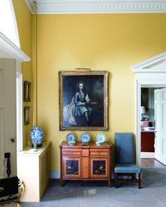 """Painted young gentleman looking Fly AF. ~ In the hallway of a Georgian home, Print Room Yellow (A) is the perfect warm but sophisticated hue. """"Yellow enhances large spaces so beautifully and creates glorious rooms that are full of energy. Farrow Ball, Farrow And Ball Paint, Farrow And Ball Living Room, Farrow And Ball Kitchen, Yellow Hallway, Yellow Walls, Yellow Bedroom Paint, Room Colors, Wall Colors"""