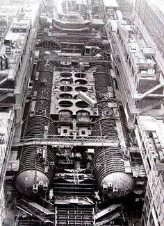 Soviet Typhoon class submarine Dmitriy Donskoy under construction.
