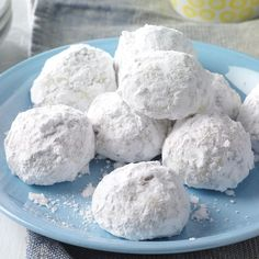 This is my favorite Christmas cookie recipe. The cookies remind me of the snowballs I'd pack as a child during winters here in Wisconsin. —Dee Derezinski, Waukesha, Wisconsin Candy Cookies, Cookie Desserts, Holiday Cookies, Just Desserts, Cookie Recipes, Taste Of Home, Christmas Desserts, Christmas Baking, Christmas Treats