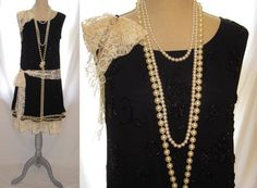 Handmade all beaded black color the Great Gatsby by 777DressCode, $129.99