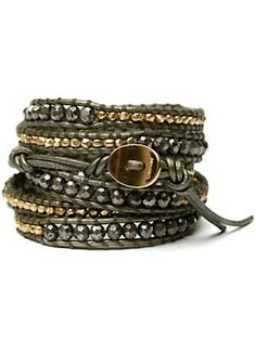 Gunmetal, Brass, and Black Leather Bracelet. Men's Spring Summer Fashion.