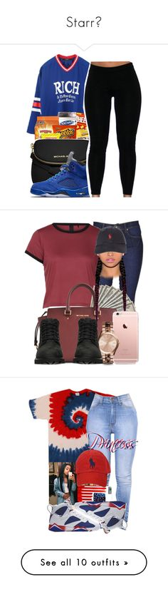 """Starr⭐"" by pinkdiamondsbleh ❤ liked on Polyvore featuring Joyrich, MICHAEL Michael Kors, Dr. Denim, Michael Kors, Timberland, Polo Ralph Lauren, NIKE, Apex, Casetify and H&M"