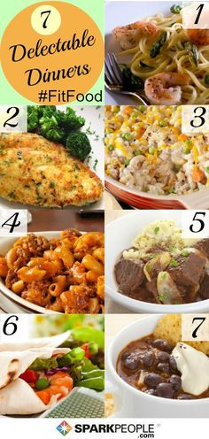 7 simple dinner ideas. Each of these super easy recipes serves one and is easily multiplied to fit the number of people in your family. | via      #healthy #meals