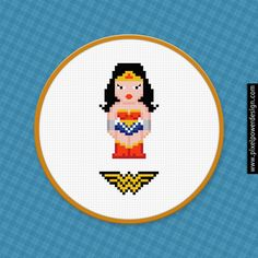 Wonder Woman Cross Stitch PDF Pattern Download    ***This is a pattern, NOT the finished product***    Fabric: 14 count  Grid size: 70W x 70H  Desi...